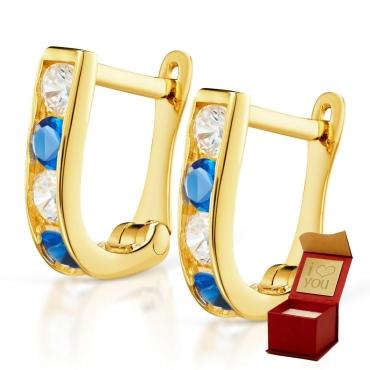 Złote kolczyki Prostokąciki Szafirowe próba 585