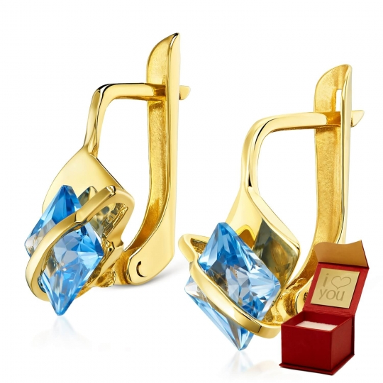Złote kolczyki Lazurowe Przepaski
