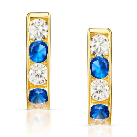 Złote kolczyki Prostokąciki niebieskie
