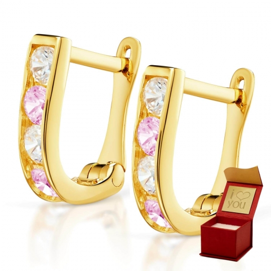 Złote kolczyki Prostokąciki różowe