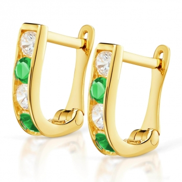 Złote kolczyki Prostokąciki zielone