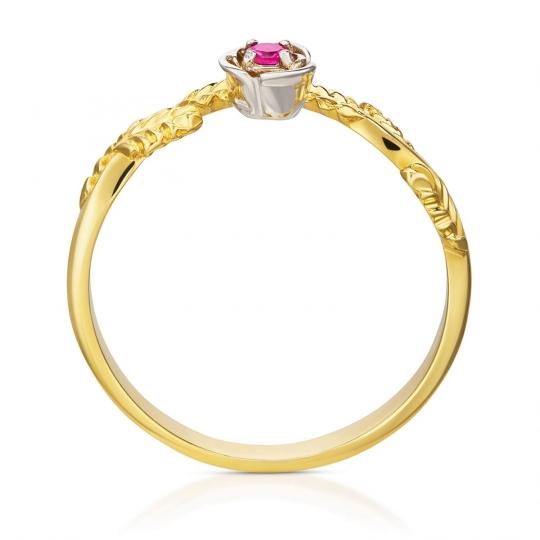Złoty pierścionek Rosa Czerwony