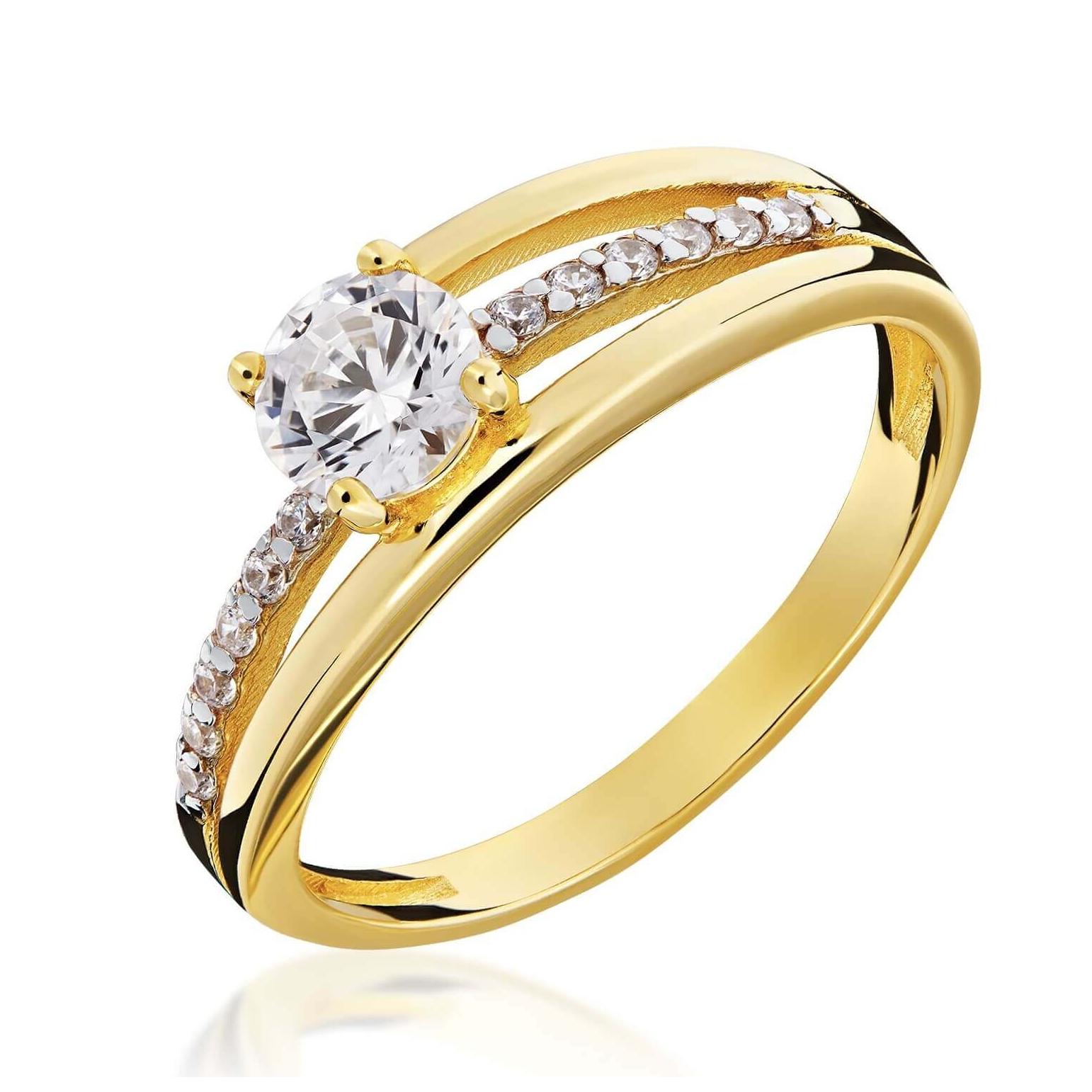 Złoty pierścionek kamieniowy próby 585