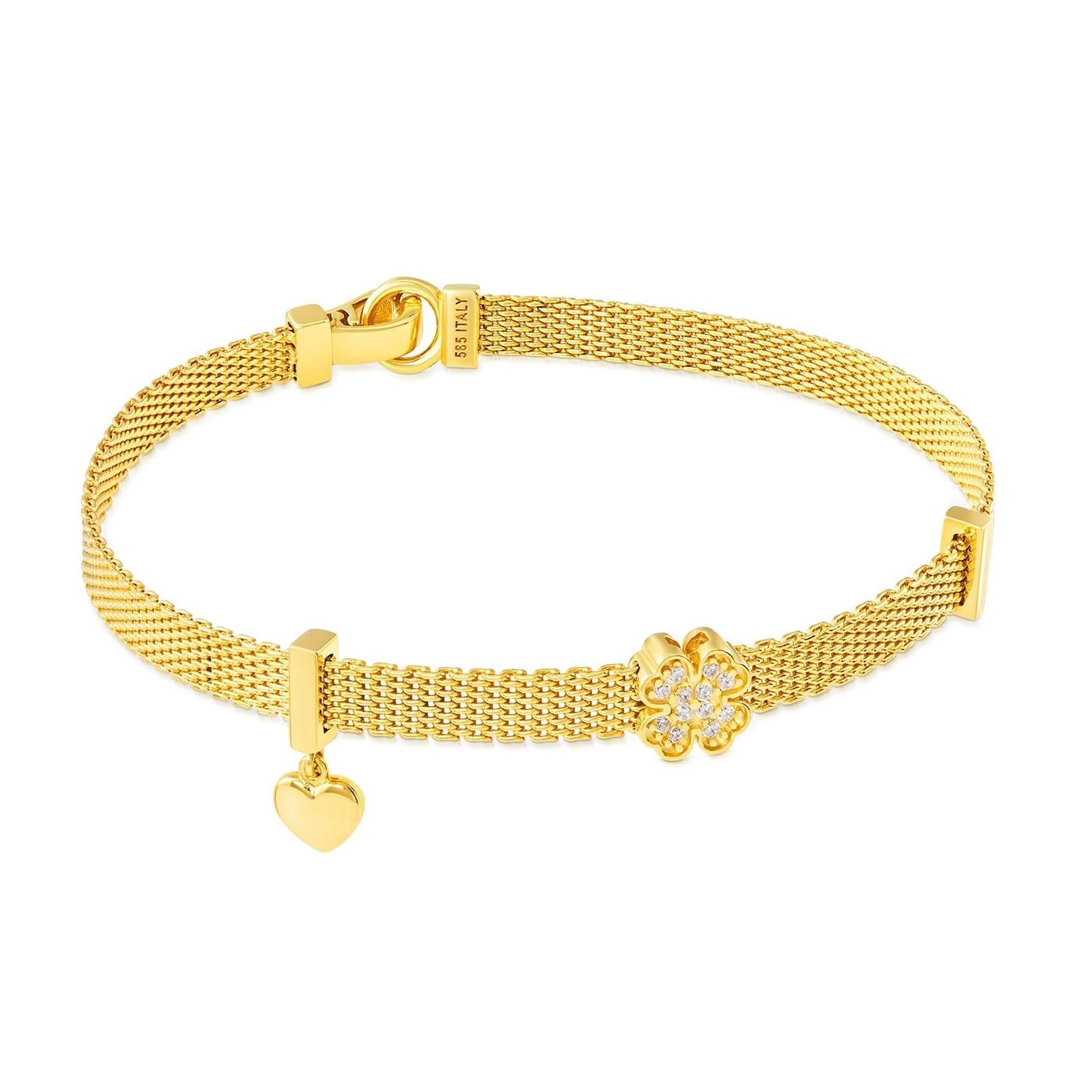 Złota bransoletka Happiness Koniczynka próba 585 Exclusive