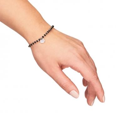 Srebrna bransoletka czarne kamienie i serduszko