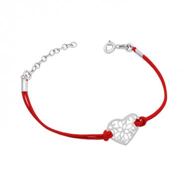 Bransoletka ażurowe serce czerwony sznurek