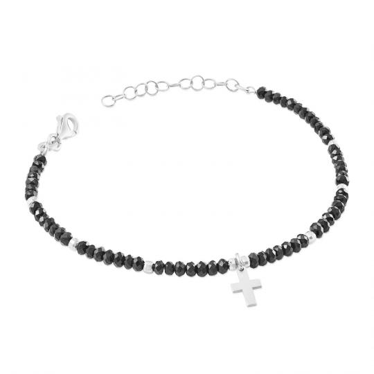 Srebrna bransoletka czarne kamienie i krzyżyk