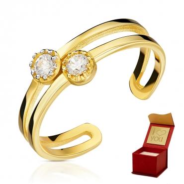 Złoty pierścionek Podwójna Obrączka