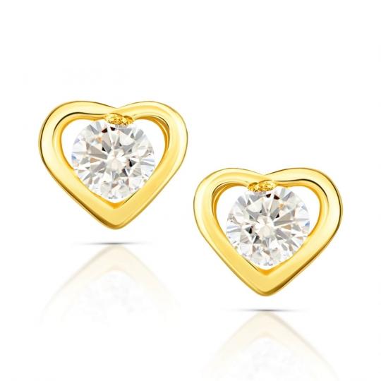 Złote kolczyki Kryształek w Sercu