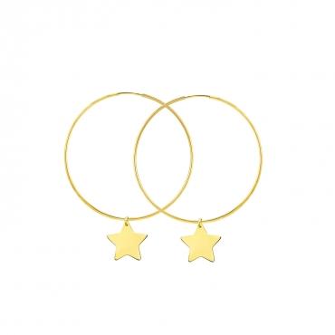 Złote Kolczyki koła Eclat Star średnica 3,5 cm