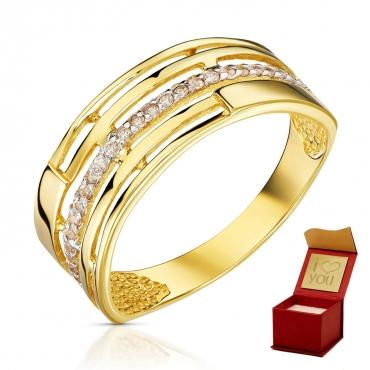 Złoty pierścionek Szeroka Obrączka