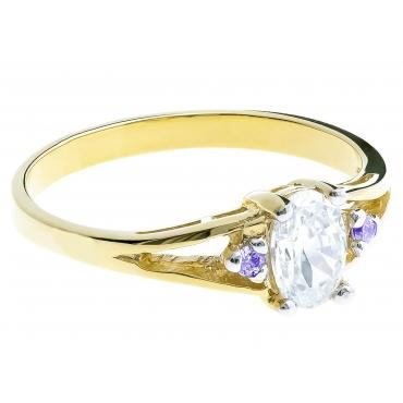 Złoty pierścionek z markizą F