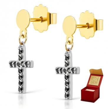 Złote kolczyki Mini krzyżyki biały złoto czarne cyrkonie próba 585