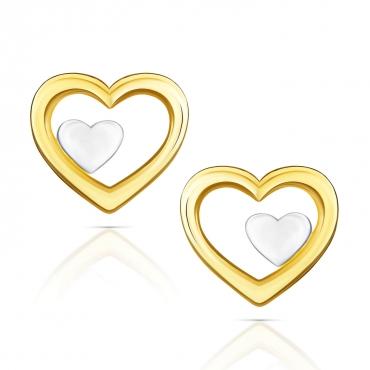 Złote kolczyki Malutkie Serduszka