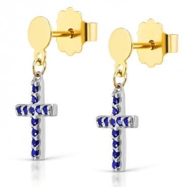 Złote kolczyki Mini krzyżyki szafirowe próba 585