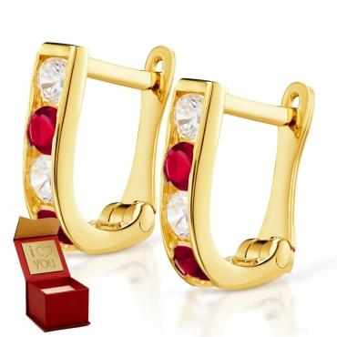 Złote kolczyki Prostokąciki Rubinowe próba 585