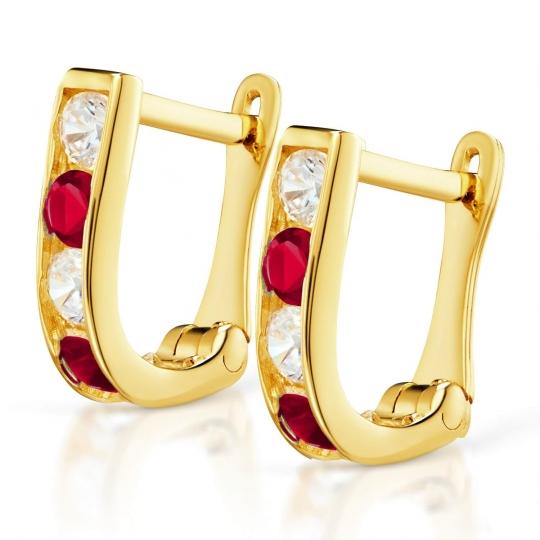 Złote kolczyki Prostokąciki Rubinowe