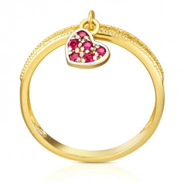 Złoty pierścionek Wiszące Serduszko
