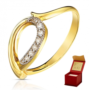 Złoty pierścionek Przeplatany