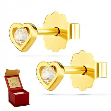 Złote kolczyki Kryształek w Sercu próba 585