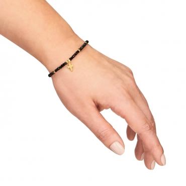Srebrna bransoletka czarne kamienie i krzyżyk pokryta 18 k złotem