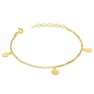 Srebrna bransoletka z Kółeczkami Mirelle pokryta 18 k złotem