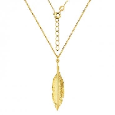 Srebrny naszyjnik pozłacany 18k złotem Piórko