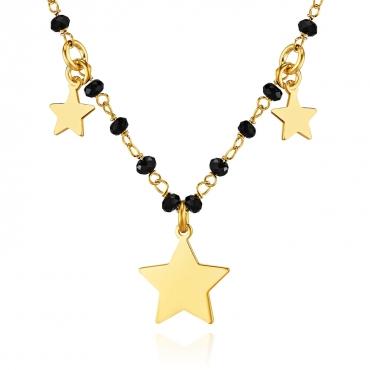 Srebrny naszyjnik pozłacany 18k złotem Gwiazdki