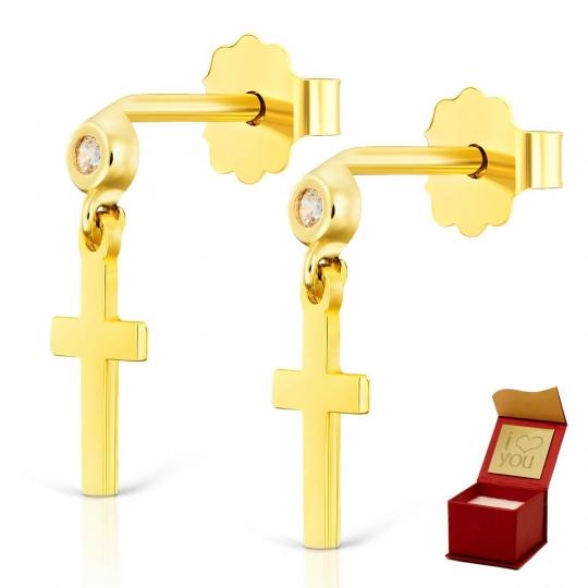 Złote kolczyki sztyfty z gładkim krzyżykiem