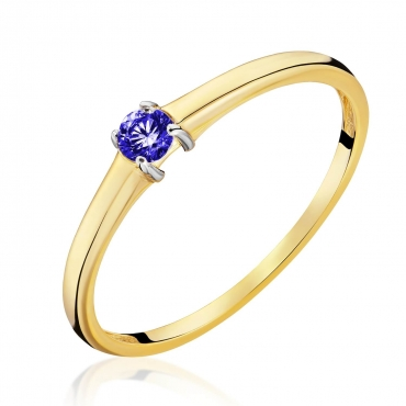 Złoty Pierścionek z niebieskim kamieniem