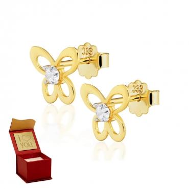 Złote kolczyki z cyrkonią urocze MOTYLKI