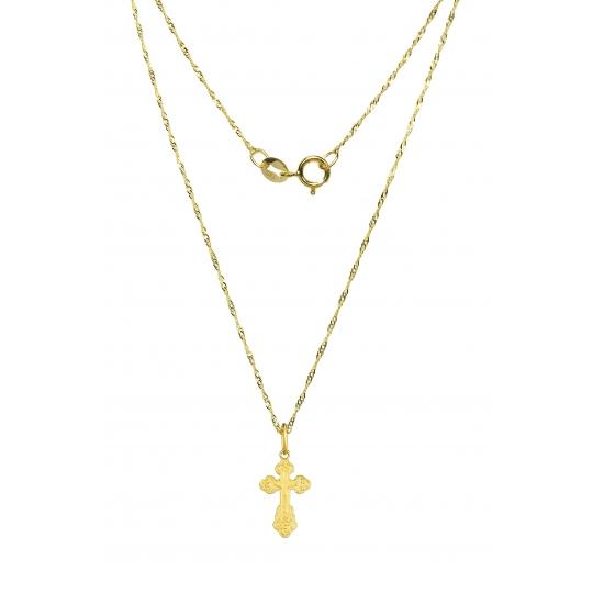 Złoty krzyżyk prawosławny + Łancuszek