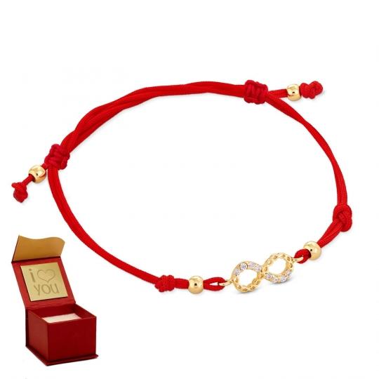 Złota bransoletka sznurkowa na dłoń NIESKOŃCZONOŚĆ