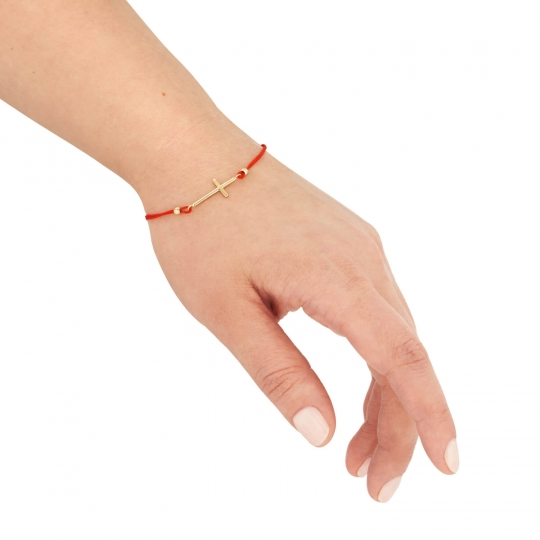 Złota bransoletka sznurkowa na dłoń z krzyżykiem
