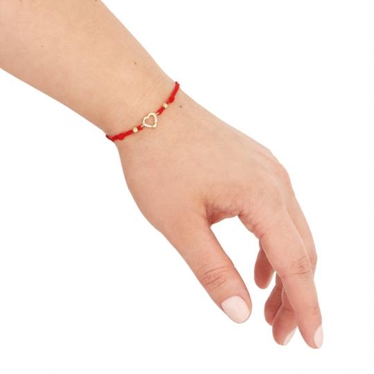 Złota bransoletka sznurkowa na dłoń SERCE