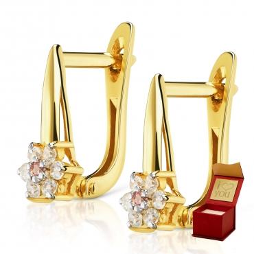 Złote kolczyki z cyrkoniami Kwiatek