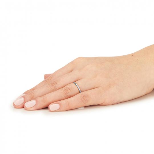 Złoty pierścionek Delikatny okrąg 585 białe złoto