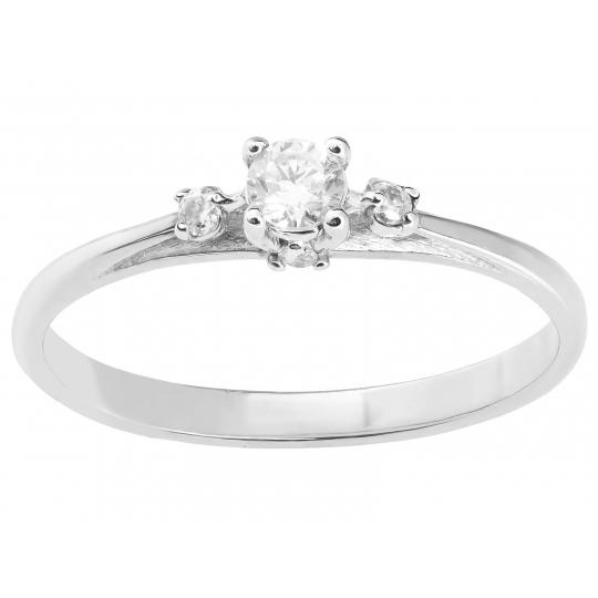 Klasyczny złoty pierścionek Cyrkonie białe złoto 585