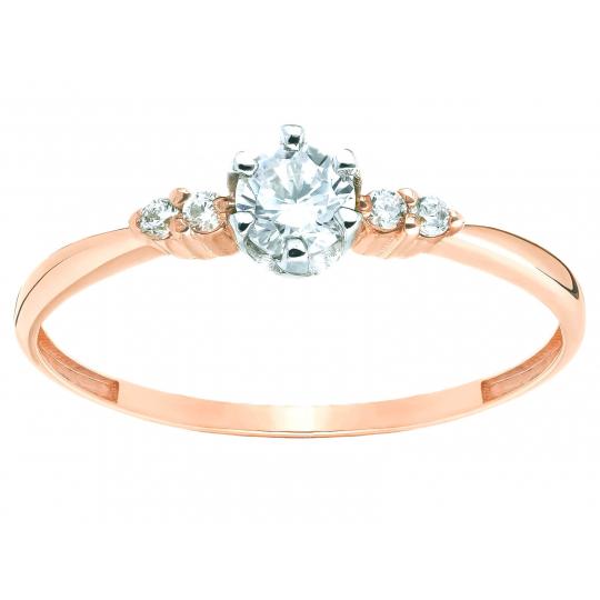 Zaręczynowy pierścionek z Cyrkoniami różowe złoto 585