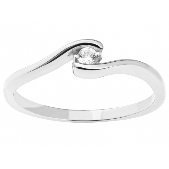 Delikatny Asymetryczny Złoty pierścionek białe złoto 585