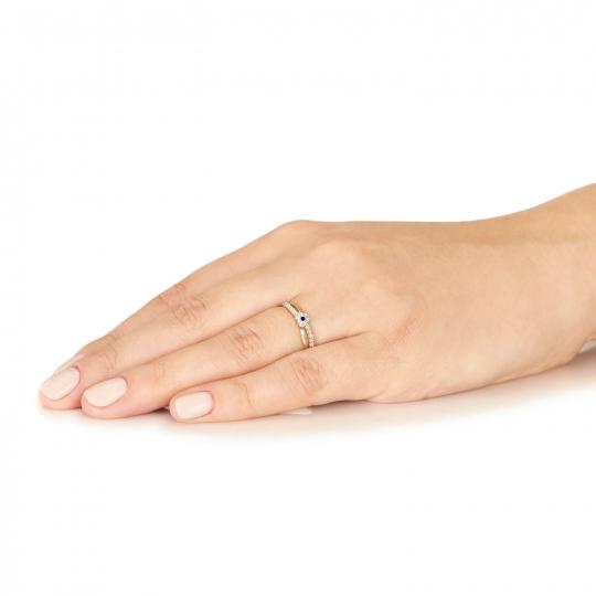 Złoty pierścionek Ukochany niebieski
