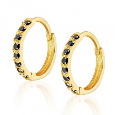 Złote kolczyki Princess Sparkle czarne
