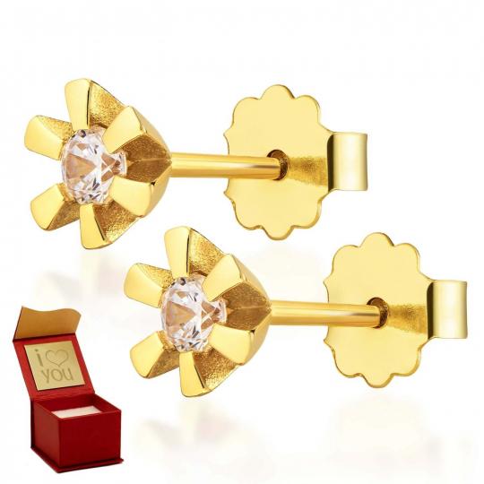 Delikatne Złote kolczyki z Cyrkonią