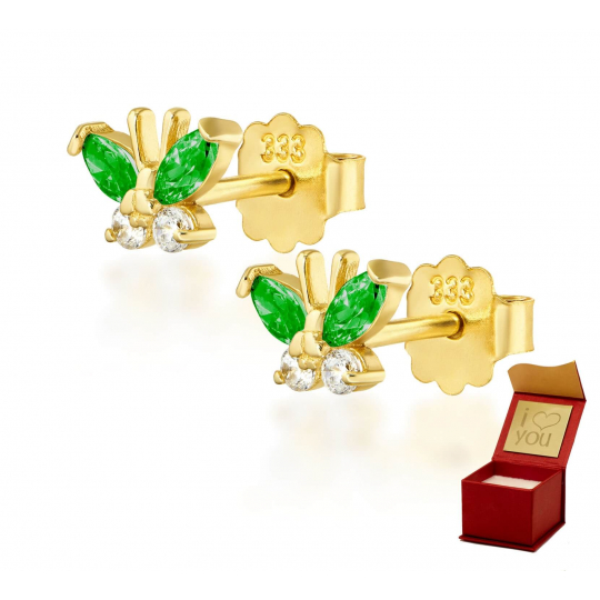 Złote kolczyki MOTYLKI zielone