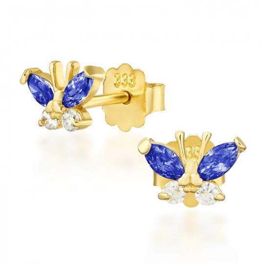 Złote kolczyki MOTYLKI niebieskie