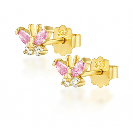 Złote kolczyki MOTYLKI różowe
