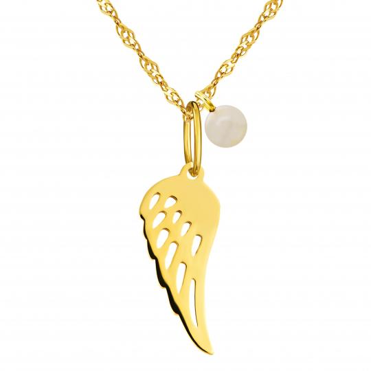 Złoty naszyjnik z perełką Anielski znak