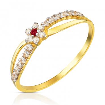 Złoty pierścionek Ukochany rubiowy