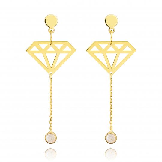 Złote kolczyki wiszące Diamonds próba 585