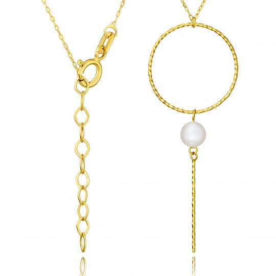 Złoty naszyjnik Estella z perłą próba 585